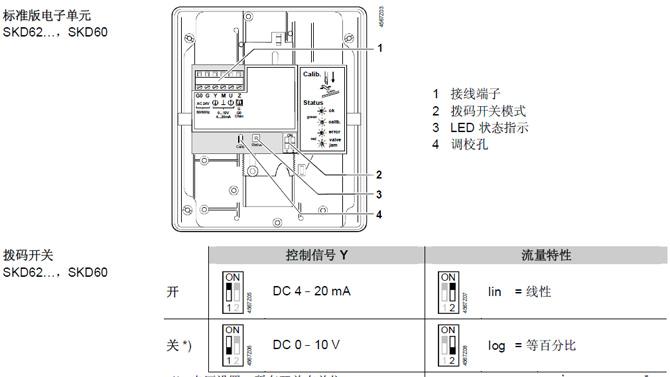 西门子电动执行器线路板说明(SKB/SKC62与此相同)  拨码开关出厂默认为关状态,即控制信号DC0-10V,流量特性等百分比。 接线端子标号解释: G0 工作电压AC 24 V:中线(SN) G 工作电压AC 24 V:火线(SP) Y 驱动信号 M 测量中线 U 位置指示 Z 优先控制 注:关于Z端子,优先控制的接线解释  TAG:电动执行器,关键技术,